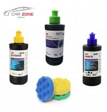 3M Ultrafina SE + Extra Fine Plus + Fast Cut Plus ( 3 x 250 gr) + 3M Polishing machine pads set (75 mm)