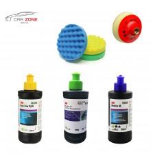 3M Ultrafina SE + Extra Fine Plus + Fast Cut Plus ( 3 x 250 gr) + 3 polishing pads (150 mm)