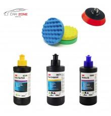 3M Ultrafina SE + Extra Fine Plus + Fine Compound (3x 250 gr) + 3x 3M pads + 3M Back-up pad